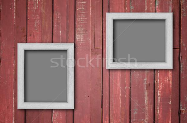 Witte hout fotolijstje Rood muur twee Stockfoto © nuttakit