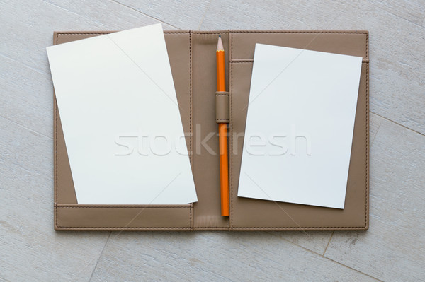 Paper and Pencil on Brown Leather Book Stock photo © nuttakit