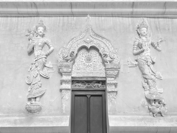 Thai art stuc anges porte d'entrée blanc noir Photo stock © nuttakit
