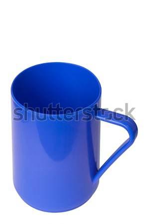 Blauw plastic beker witte geïsoleerd pad Stockfoto © nuttakit