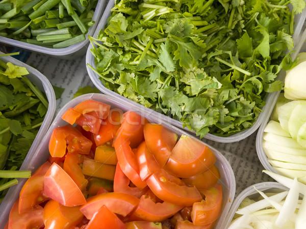 Coentro tomates plástico bandeja cozinhar Foto stock © nuttakit
