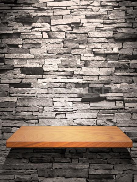 Hout plank stenen muur beneden licht steen Stockfoto © nuttakit