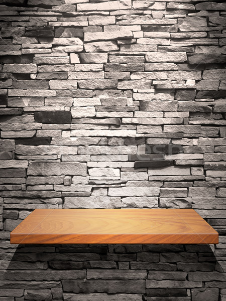 Wood shelf on stone wall Stock photo © nuttakit