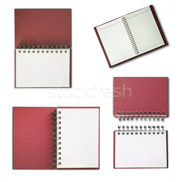 Rood notebook verticaal witte pagina collectie Stockfoto © nuttakit