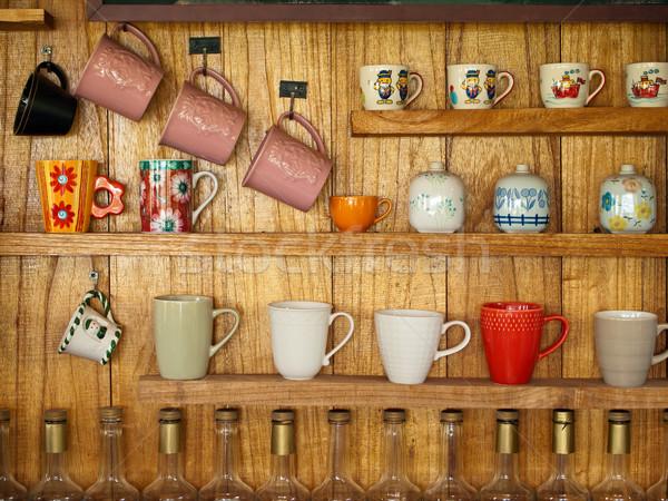 Taza de café madera plataforma muchos café casa Foto stock © nuttakit