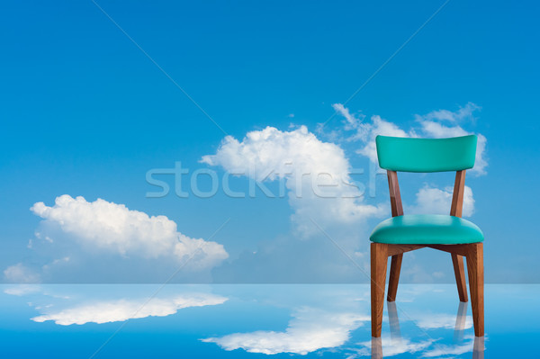 Wood chair green leather Sky Background Stock photo © nuttakit