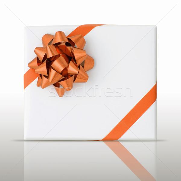 оранжевый звездой линия лента белый бумаги Сток-фото © nuttakit