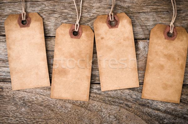 Stockfoto: Vier · verticaal · vintage · papier · label · hout