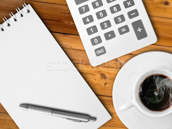 White calculator and white note paper Stock photo © nuttakit