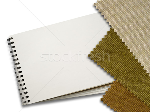 Brown Fabric sample and Blank White Page of Note Book Stock photo © nuttakit