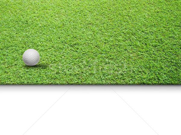 Сток-фото: белый · мяч · для · гольфа · зеленая · трава · изолированный · веб · страница