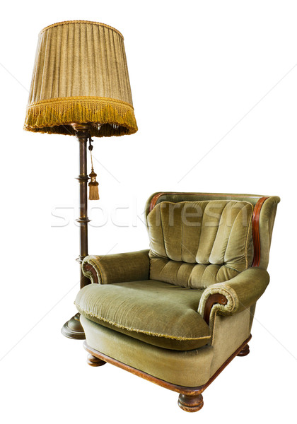 Old luxury armchair with floor lamp on white Stock photo © nuttakit