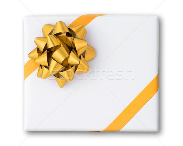 Or star ligne ruban blanche papier Photo stock © nuttakit