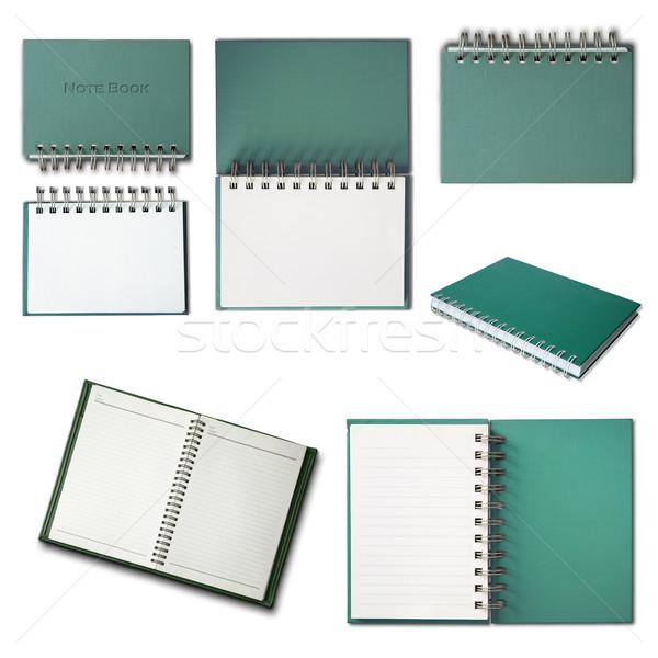 Groene notebook collectie geïsoleerd witte business Stockfoto © nuttakit