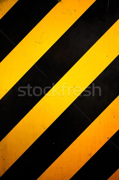 黄色 黒 行 描いた 交通標識 建設 ストックフォト © nuttakit