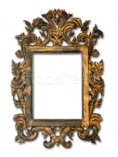 Antieke glas frame hout huis muur Stockfoto © nuttakit