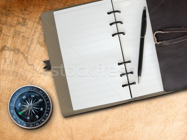коричневый кожа охватывать сведению книга компас Сток-фото © nuttakit