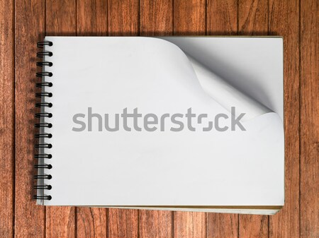 White sketch book one Horizontal page on Wood Stock photo © nuttakit