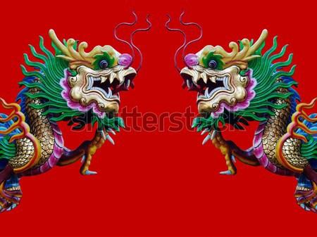 Tweeling chinese draak rond Rood paal witte Stockfoto © nuttakit
