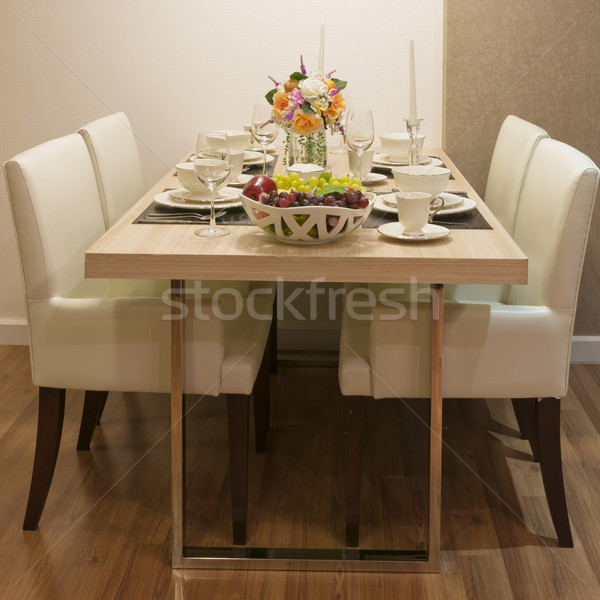 Side view of Top wood Dining Table Stock photo © nuttakit