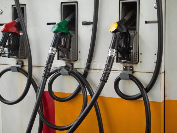 Stock fotó: Három · benzinkút · pumpa · benzinkút · kész · autó · háttér