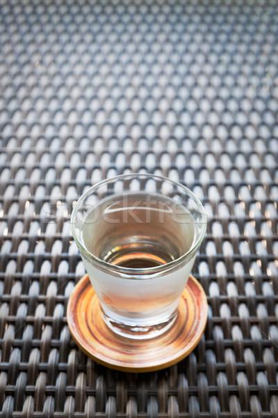 стекла воды блюдце темно коричневый бамбук Сток-фото © nuttakit
