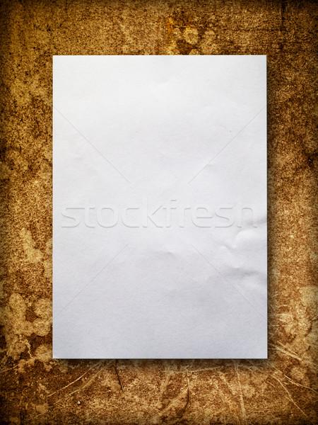 Blanco papier oude muur witte papier oranje Stockfoto © nuttakit