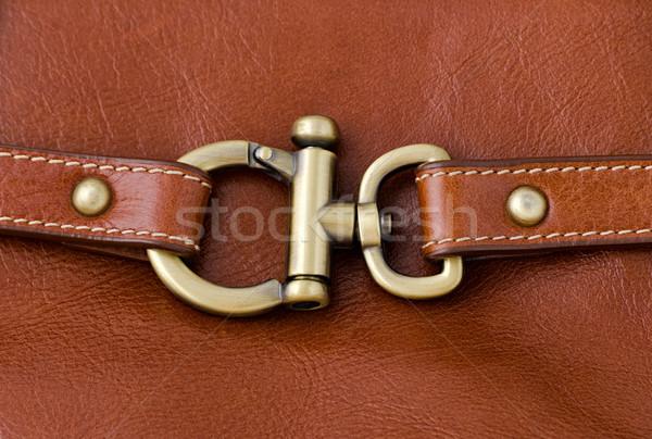 Lock métal anneau brun cuir texture Photo stock © nuttakit