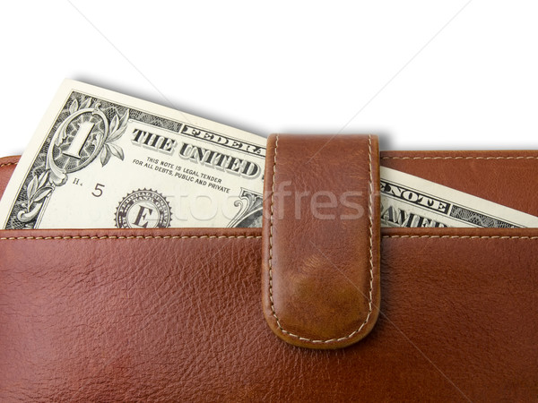Une dollar Bill brun cuir sac Photo stock © nuttakit