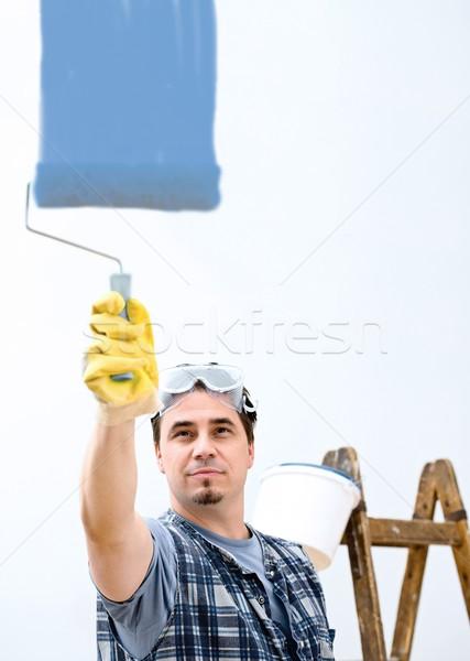 Melhoramento da casa trabalhador pintura parede ferramentas trabalhando Foto stock © nyul