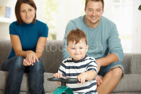 Foto stock: Pequeno · menino · condução · brinquedo · carro · feliz