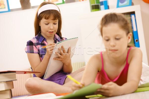 Schoolkinderen schrijven boekje home kinderen student Stockfoto © nyul