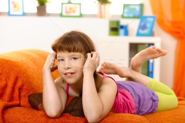 Little girl lying on sofa Stock photo © nyul