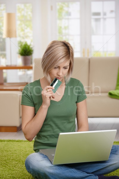 Stock photo: Woman shopping online