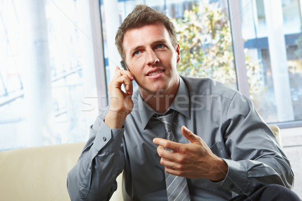Smiling professional on phone with gesture Stock photo © nyul