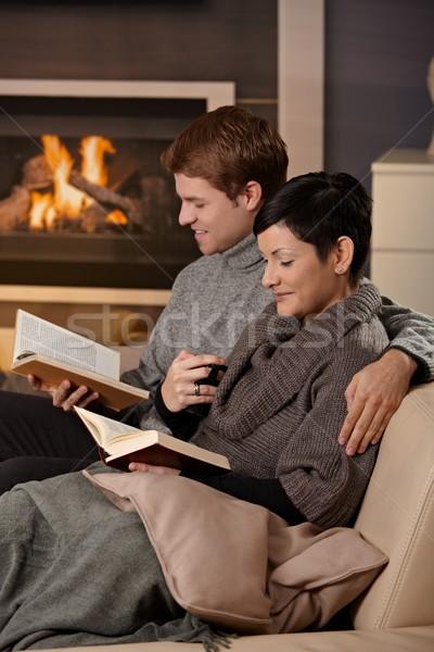 Stockfoto: Paar · lezing · home · sofa