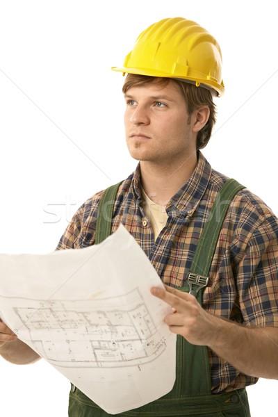 Jungen Builder halten Grundriss tragen Stock foto © nyul