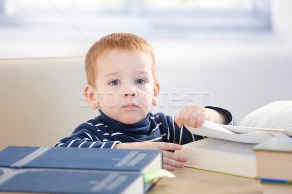 Peu sérieux séance table étudier encyclopédie Photo stock © nyul