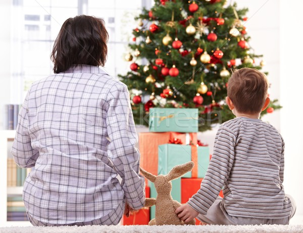 Mother, toy and son on christmas morning Stock photo © nyul