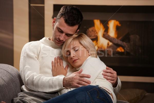 Paar home sofa haard Stockfoto © nyul