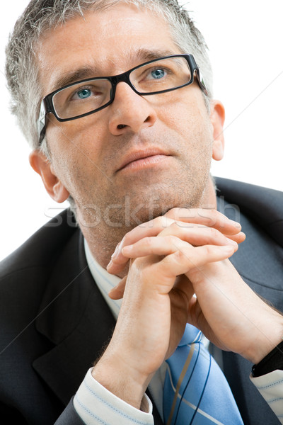 Cansado empresário retrato mãos Foto stock © nyul
