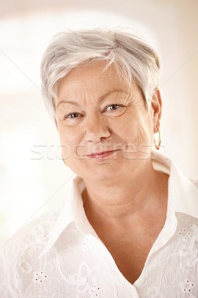 портрет белые волосы глядя камеры Сток-фото © nyul