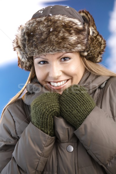 Attractive woman dressed warm smiling freezing Stock photo © nyul