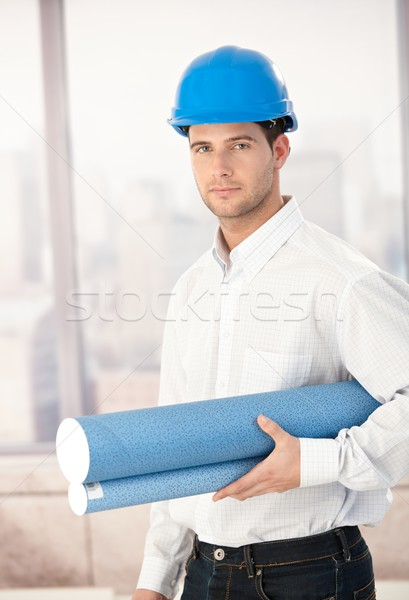 Young architect wearing hardhat Stock photo © nyul