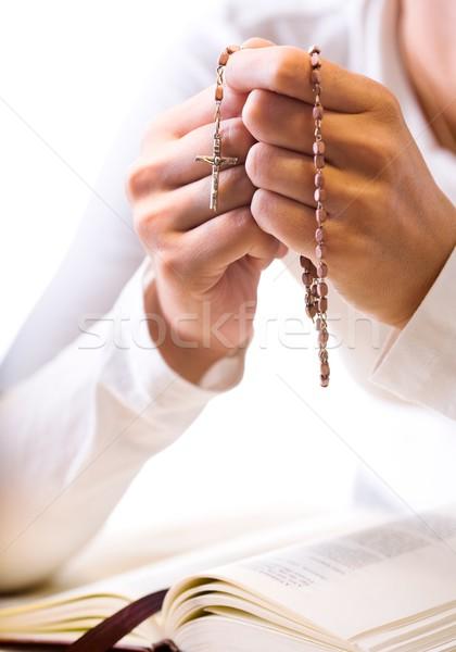 祈り クリスチャン 信者 祈っ 神 ロザリオ ストックフォト © nyul
