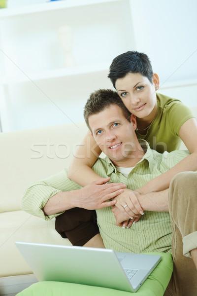 Love couple using laptop Stock photo © nyul