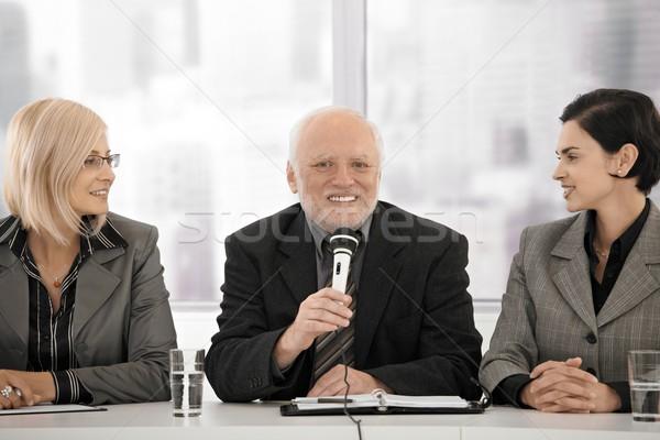 деловое совещание старший человека микрофона бизнесмен Сток-фото © nyul