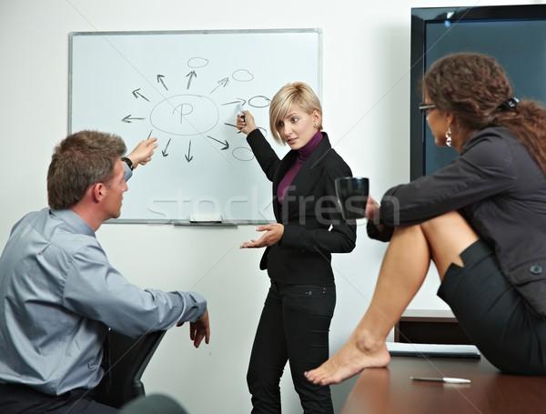 Zakenlieden kantoor team praten uitleggen gezicht Stockfoto © nyul