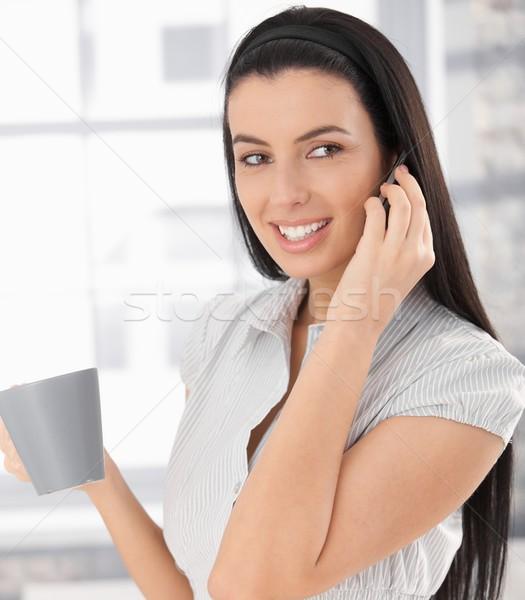 Stok fotoğraf: Mutlu · kadın · telefonu · çağrı · kadın · gülme