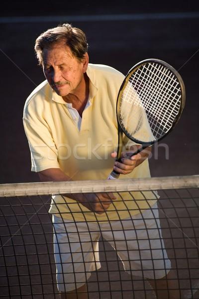 Senior uomo giocare tennis attivo 70s Foto d'archivio © nyul